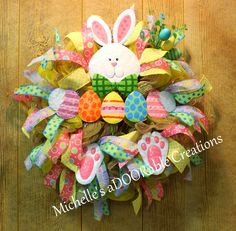 Easter Wreath, Easter Egg Wreath, Easter Bunny Wreath, Spring Wreath by MaDoorableCreations on Etsy