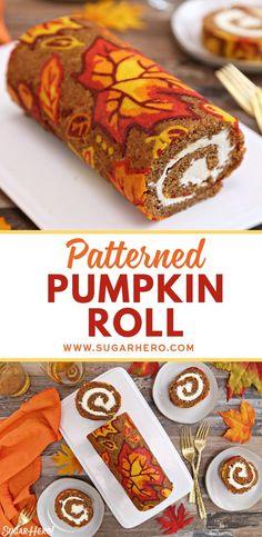 Patterned Pumpkin Roll - a moist pumpkin cake with a pumpkin spice cream cheese . - Patterned Pumpkin Roll – a moist pumpkin cake with a pumpkin spice cream cheese filling is decora - Pumpkin Recipes, Fall Recipes, Holiday Recipes, Gluten Free Pumpkin, Vegan Pumpkin, Baked Pumpkin, Ww Recipes, Holiday Desserts, Holiday Baking