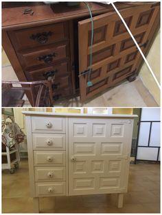 Mueble castellano de máquina de coser restaurado con chalk paint