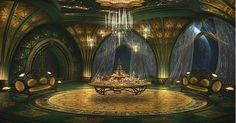 Dinner with Titus - Original concept art for Titus Abrasax's chambers. - Jupiter Ascending – Official Look Book