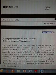 Título: El vampiro argentino   Autor: Juan Terranova   Revista: No-Retornable http://www.no-retornable.com.ar/v14/nuevo/martin.html