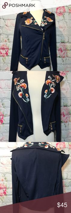 Gorgeous Navy embroidered floral Moto Jacket Super stretchy material!  From my boutique BNWT  Has a gold zipper on the side. Fits very true to Sz maybe even size up if you don't want it too tight. Jackets & Coats Blazers