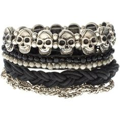 ASOS Friendship Bracelet Pack With Chains And Skulls ($17) ❤ liked on Polyvore featuring jewelry, bracelets, accessories, pulseiras, jewellery wobracelets, womenswear, asos, skull bangle, skull jewelry and skull jewellery