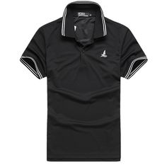 Sale 18% (16.99$) - Mens Summer Quick-drying Contrast Color Collar Striped Turn-down T-shirt Short Sleeve Polo Shirt