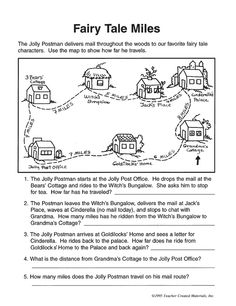 What a lucky postman! He gets to deliver mail to all your kids' favorite fairy tale characters! Get the little ones to follow the Jolly Postman as he delivers mail and calculate how far he travels in the fun 'Fairy Tale Miles' printable math worksheet for kids.