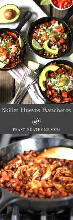 Mini cast iron skillet Huevos Rancheros...cute and delicious! Perfect for breakfast or brunch. #huevos #eggs #brunch http://www.feastingathome.com/2013/05/skillet-huevos.html