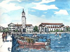 Zakynthos Port Greece art print from an original by AndreVoyy, $15.00