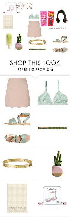"""""""don't worry"""" by inspiredbyart345 ❤ liked on Polyvore featuring Glamorous, Monki, L'Autre Chose, Cartier and Happy Plugs"""