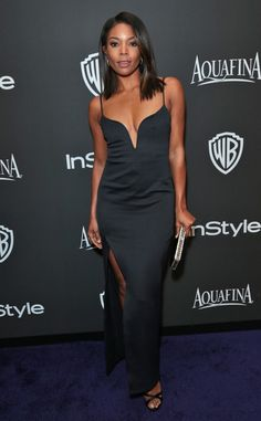 Ow ow! Gabrielle Union sizzles in a plunging black dress.