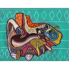 50% OFF Storewide- Original Folk Art Ear Anatomy Painting by Heather Galler Medical Science Audiology Audiologist
