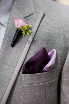 Needs a bigger boutonnière, but I love the dark and light purples together.