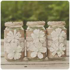 10 Lace and burlap wedding centerpieces. Lace and burlap wedding. Mint. Rustic wedding, barn wedding. Mason jar.