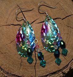 Pink Silver Green Blue DOUBLE Dangle FISHING Lure Earrings Made in South Dakota Lakota Sioux Made