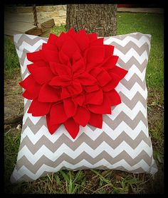Grey and White Chevron Pillow Cover with Red by TheEvergreenHeart, $25.00
