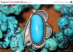35% OFF Vintage Navajo Style Sterling Silver Turquoise Ring -New Old Store Stock