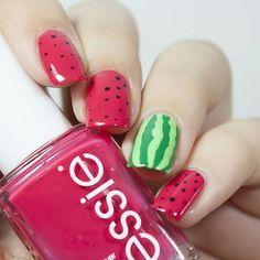 watermelon easy nail art