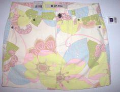 NEW GAP JEANS Sz 2 Denim Mini Skirt Floral Paisley Pastel Over Dyed Fade Print  #Fashion #Gap #Deal