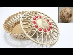 Beautiful Jute jewellery box - Simple way to make ! - Beautiful Jute jewellery box – Simple way to make ! Straw Crafts, Jute Crafts, Quilling Flowers, Paper Flowers Diy, Jade Jewelry, Cheap Jewelry, Jewellery Boxes, Jewelry Box, Popsicle Stick Christmas Crafts