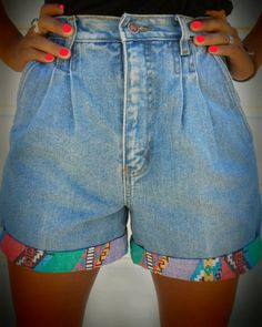 High waisted denim cut-off shorts with basically no bum? Yes ...