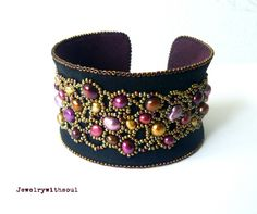 Bead embroidery cuff bracelet with freshwater pearls in black, antique gold, fuchsia, purple and pink - Midnight garden. $91.00, via Etsy.