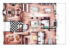 hand rendering interior design - Google Search Interior Design Renderings, Drawing Interior, Interior Rendering, Interior Sketch, Interior Architecture, Sims, Apartment Floor Plans, House Blueprints, Planer