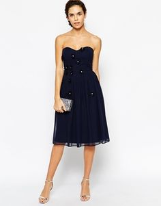 Enlarge Elise Ryan Midi Bandeau Dress with 3D Daisy Flowers