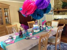 """Ever after high"" party table. We did a tea party theme because Madeline Hatter is the Mad Hatter's daughter in the book."