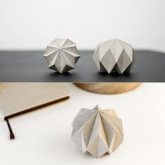 Melvin Ong, the founder ofDesinere, has created the beautiful, origami-like Rok –a concrete object that can be used as a paperweight or a sculpture.