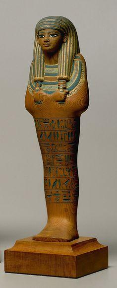 Shabti of Yuya, New Kingdom, Cedar, paint, Egyptian blue. Yuya was a powerful Egyptian courtier during the eighteenth dynasty.