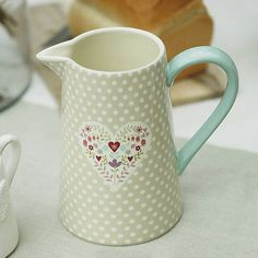 Polka Dot Heart Jug by Ella James http://www.notonthehighstreet.com/ellajames/product/pastel-polka-dot-jug