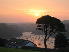 Sunrise over the Fowey estuary, Cornwall, UK