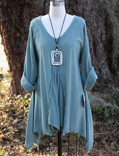 OH MY Gauze Cotton Lagenlook Renne Flared Godet Tunic TOP OS 1X 2X 3X Green Sage | eBay