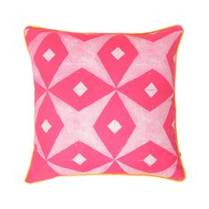 100% linen cushion hand screen printed with jasmine tile design in pink finished with yellow piping (C1142).  Dimensions: 50cm x 50cm (feather insert included)  Care Instructions: Remove insert and hand wash or gentle machine wash separately with gentle laundry liquid, line dry and iron on reverse whilst slightly damp. Please do not bleach, tumble dry or dry clean.