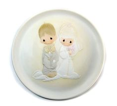 Precious Moments Wedding Plate, The Lord Bless You and Keep you, Bride and Groom, Porcelain Bisque 1980