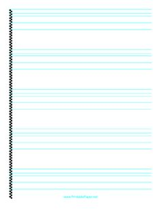 This printable calligraphy paper has fine lines for practicing hand lettering. It is intended for a pen with a nib width of .07 (fine). Free to download and print