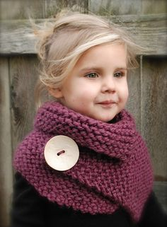 Knitted scarf W over sized button-- love this! by muriel