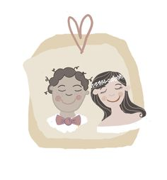 Bride and Groom Illustrated Romantic Portrait by The Story House  See more examples at story-house.co.uk