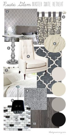 Mood Board: Rustic Glam Master Suite Retreat - Our DIY House by The DIY Mommy Love the of planning interior this way Glam Living Room, Rustic Glam Decor, Interior, Home Decor Bedroom, Cheap Home Decor, Home Decor, Interior Design, Rustic Bedroom, Glam Master Bedroom
