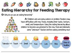 This visual is designed for speech-language pathologists (SLPs) working with children and their families to address feeding challenges related to … Feeding Therapy Activities, Oral Motor Activities, Speech Therapy Activities, Speech Therapy Themes, Speech Language Pathology, Speech And Language, Receptive Language, Pediatric Occupational Therapy, Pediatric Ot