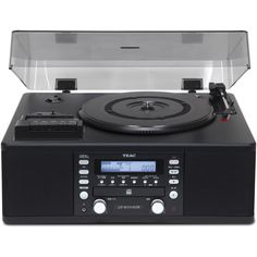 The LP-R550USB is a full audio and dubbing system with turntable, CD recorder, cassette player, computer interface, and AM/FM tuner. It includes a USB output to connect to a computer for playing and r