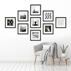 Add sophisticated style to your living room or gallery wall display with the Matted Gallery Frames Pack from Made By Design™. This set of picture frames includes nine 13-inch by 13-inch frames with mat backing and glass window for a clean and contemporary look, with each frame able to hold one eight-inch by eight-inch image for a stunning display. Showcasing a chic and simple border with a smooth painted matte finish, these matte photo frames bring modern style and coordinate well with any… Family Wall Decor, Hallway Wall Decor, Photo Wall Decor, Diy Wall Decor, Home Decor, Living Room Decor Frames, Living Room Gallery Wall, Living Room Walls, Living Room Decor Pictures