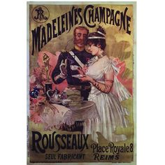 Rare French Belle Epoque Period Poster for Madeleines Champagne, 1890s | From a unique collection of antique and modern prints at https://www.1stdibs.com/furniture/wall-decorations/prints/