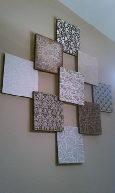 """My First Pinterest Project :)  3 - 1""""x12""""x36"""" Styrofoam Sheets Cut into 12x12 squares  9 - 12x12 scrapbook papers  Ribbon for edges  Glue, spray, elmers or glue dots  2"""" Nails for stacking"""