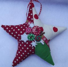 SALEChristmas ornamentPatchwork by PigeonHouseHandmade on Etsy, $6.50