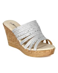 Nature Breeze CA60 Women Glitter Mixed Media Strappy Open Toe Cork Platform Wedge Sandal - Silver *** You can find more details by visiting the image link.