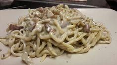 Spaghetti alla chitarra con gorgonzola e funghi