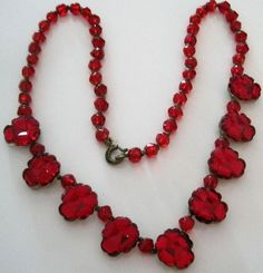 rare Art Deco Czech Red Vauxhall Glass Necklace | eBay