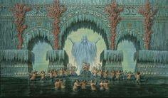 Karl Friedrich Schinkel, set designs for Die Zauberflöte (The Magic Flute); The Hall of Stars in the Palace of the Queen of the Night [Königin der Nacht]; Entwurfzeichnung zum Bühnenbild, Berlin, c. 1816.
