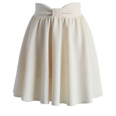 Chicwish Delight My Bow Skater Skirt in Beige ($38) ❤ liked on Polyvore featuring skirts, bottoms, saia, beige, cotton skirt, skater skirt, circle skirt, beige skirt and bow skirt