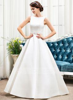 Ball-Gown Scoop Neck Floor-Length Satin Wedding Dress With Beading Sequins (002056197)